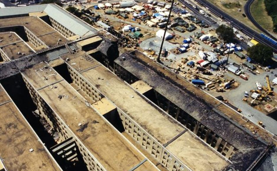 "Aerial photos show the site of the attack after the smoke and dust had settled. This image was labelled ""Pentagon Overhead"". Photo courtesy: FBI"