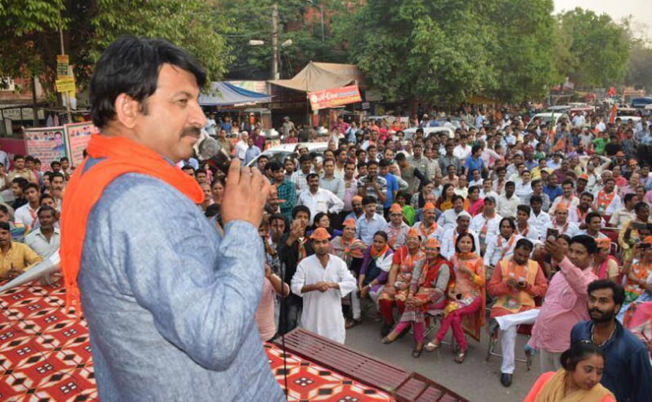 Manoj Tiwari, a one-time Bhojpuri film actor and Lok Sabha MP from the capital, was made in-charge of Delhi in order to cash in on the large proportion of migrants from Uttar Pradesh and Bihar. Image courtesy: Facebook/BJP4Delhi