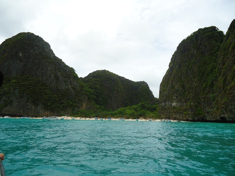 Approaching the beach at Maya Bay
