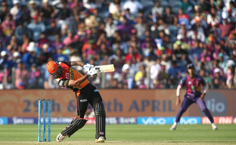 Deepak Hooda of the Sunrisers Hyderabad hits over the top for six! Photo by Shaun Roy - Sportzpics - IPL