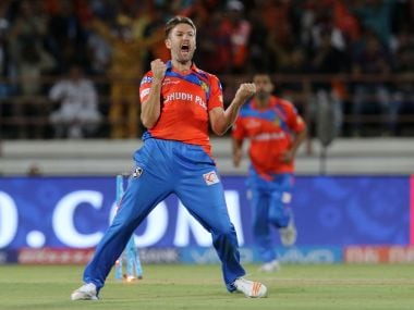 Andrew Tye of the Gujarat Lions celebrates after taking a hat-trick against Rising Pune Supergiant. IPL/Sportzpics