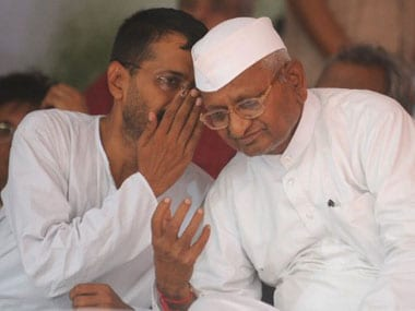 File image of Anna Hazare and Arvind Kejriwal. AFP