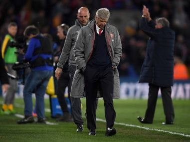 Arsene Wenger, manager of Arsenal looks dejected after the defeat to Crystal Palace. Getty