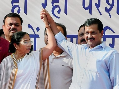 File photo of Delhi Chief Minister Arvind Kejriwal and West Bengal Chief Minister Mamata Banerjee. PTI