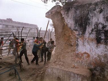File photo of the 6 December 1992 Babri Masjid demolition. AFP