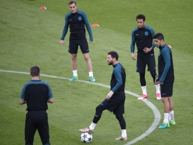 Barcelona players take part in a training session on the eve of the Champions League match against Juventus. AFP