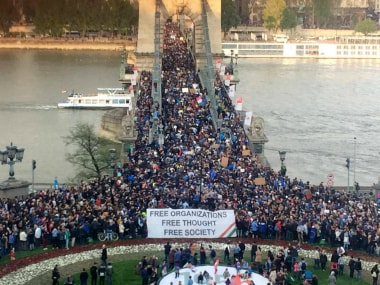 More than 80000 people protested in Budapest on Monday.