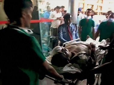 An injured CRPF man being brought to Raipur for treatment following Sukma attack. PTI