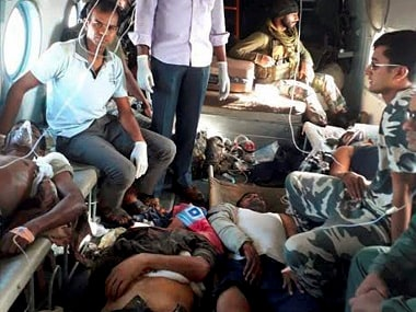 CRPF man being brought to Raipur for treatment on Monday following a Maoist attack in Chattisgarh