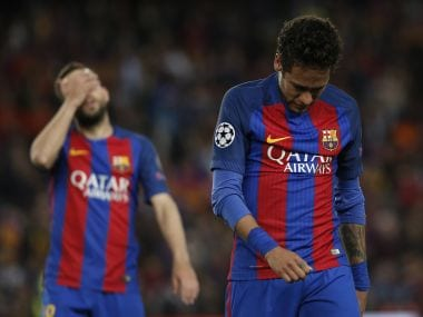 Barcelona's Neymar leaves the field in tears after their ouster from the Champions League. AFP