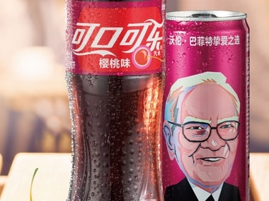 Warren Buffett's image on a Cherry Coke can. AP