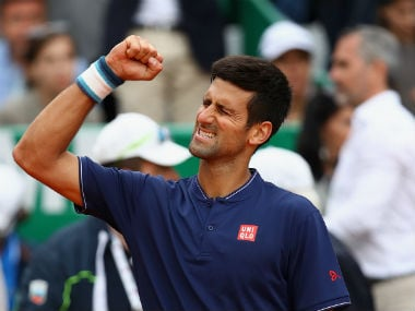Novak Djokovic celebrates his win over in three sets. Getty Images