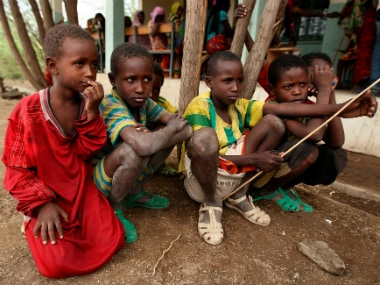 Children wait to receive treatment in Kobo health center in Kobo village, one of the drought stricken areas of Oromia region, in Ethiopia, April 28, 2016