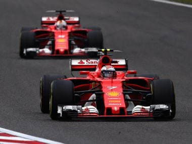 Kimi Raikkonen leading Sebastian Vettel during the Chinese Grand Prix. Getty