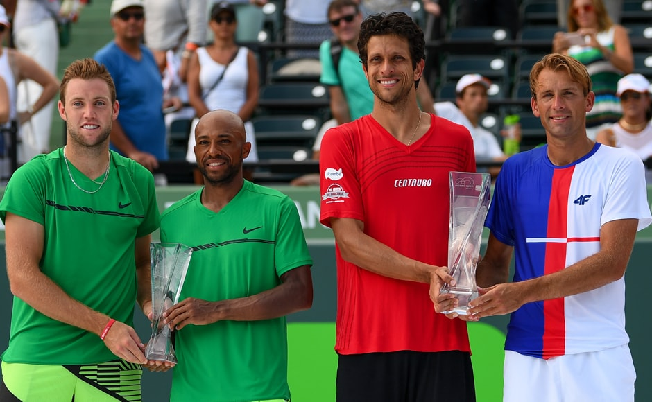 Lukasz Kubot and Marcelo Melo defeated Americans Nicholas Monroe and Jack Sock 7-5, 6-3 to win the Miami Open men's doubles title. Getty