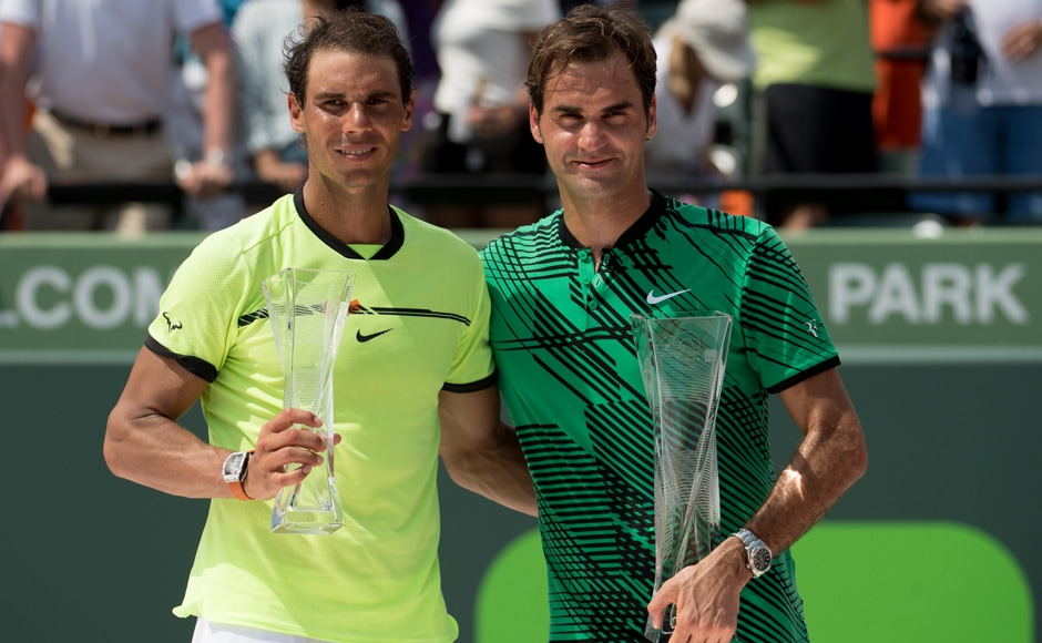 Roger Federer clinched his 91st career title when he beat rival Rafael Nadal 6-3, 6-4 in the Miami Open final on Sunday. Getty