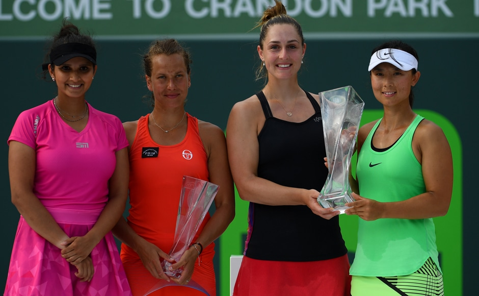 India's Sania Mirza and her doubles partner Barbora Strycova of Czech Republic were upset by the Canadian-Chinese pair Gabriela Dabrowski and Xu Yifan in the Miami Open women's doubles final. Getty