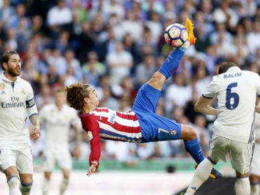Antoinne Griezmann escaped Atletico with a late goal against Real Madrid. AP