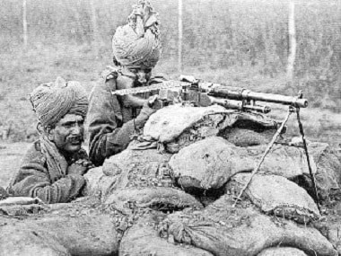 A Benet-Mercier machine gun section of 2nd Rajput Light Infantry in action in Flanders, during the winter of 1914-15. Wikimedia Commons