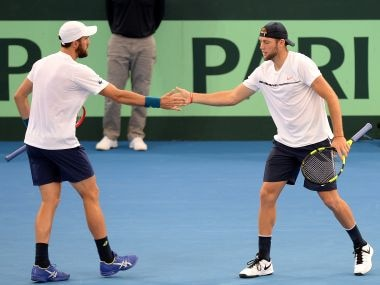 Steve Johnson and Jack Sock of the USA celebrate a point in their doubles match. Getty
