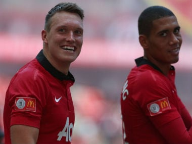 File photo of Phil Jones and Chris Smalling. Getty Images