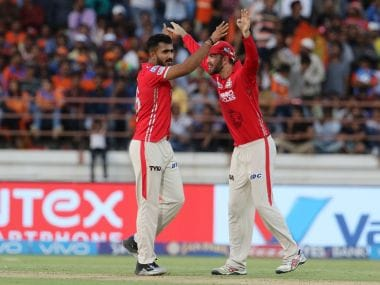 KC Cariappa and Glenn Maxwell of Kings XI Punjab celebrate a wicket during their match against Gujarat. Sportzpics