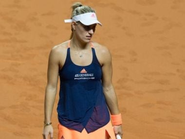 Angelique Kerber reacts during her second-round loss to Kristina Mladenovic. Getty