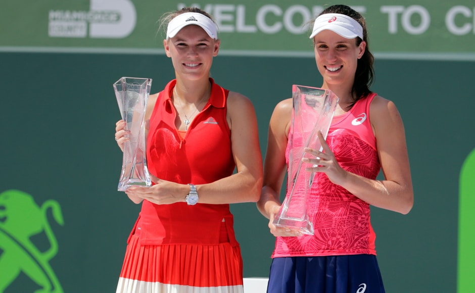 Johanna Konta won the biggest title of her career when she beat Caroline Wozniacki 6-4, 6-3 in the women's singles final at the Miami Open on Saturday. AP