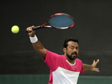 India tennis player Leander Paes in action. AFP