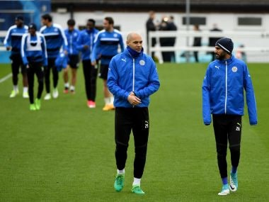 Leicester City players during a training session prior to the Champins League match. Getty