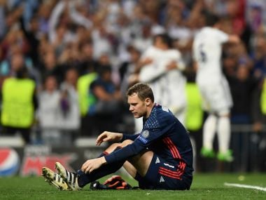 Manuel Neuer of Bayern Munich reacts after Cristiano Ronaldo scored Real's third. Getty Images