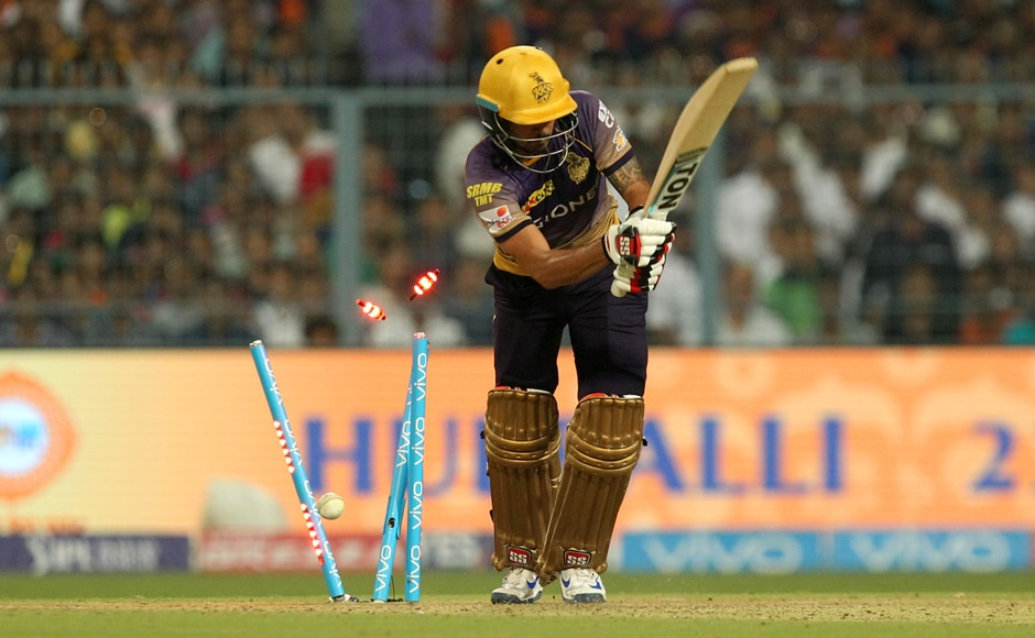 Manish Pandey of Kolkata Knight Riders is bowled out during the game against Gujarat Lions held at the Eden Gardens Stadium in Kolkata. Sportzpics - IPL