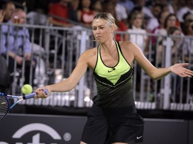 Maria Sharapova competes in the World TeamTennis Smash Hits charity tennis event in October. AFP