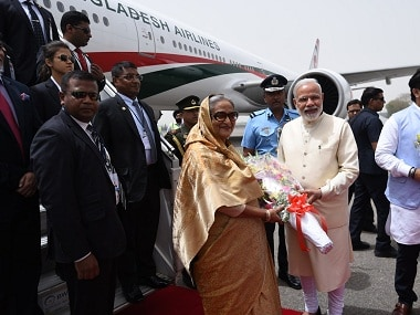 Narendra Modi greets Sheikh Hasina on Friday. Twitter @narendramodi