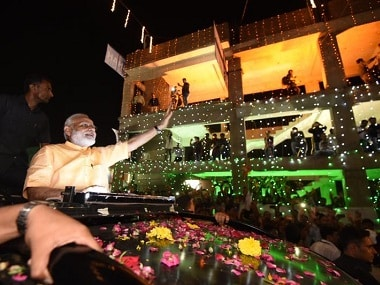 Narendra Modi during the Surat roadshow on Sunday. Image courtesy: @BJP4India