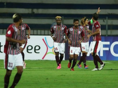 Mohun bagan players in action against Abahani United at the Rabindra Sarovar Stadium in Kolkata. Twitter: @Mohun_Bagan AC