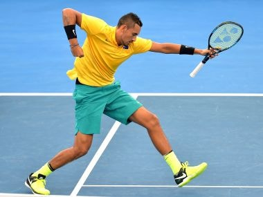 Nick Kyrgios of Australia celebrates winning his Davis Cup match against Sam Querrey of the USA. Getty