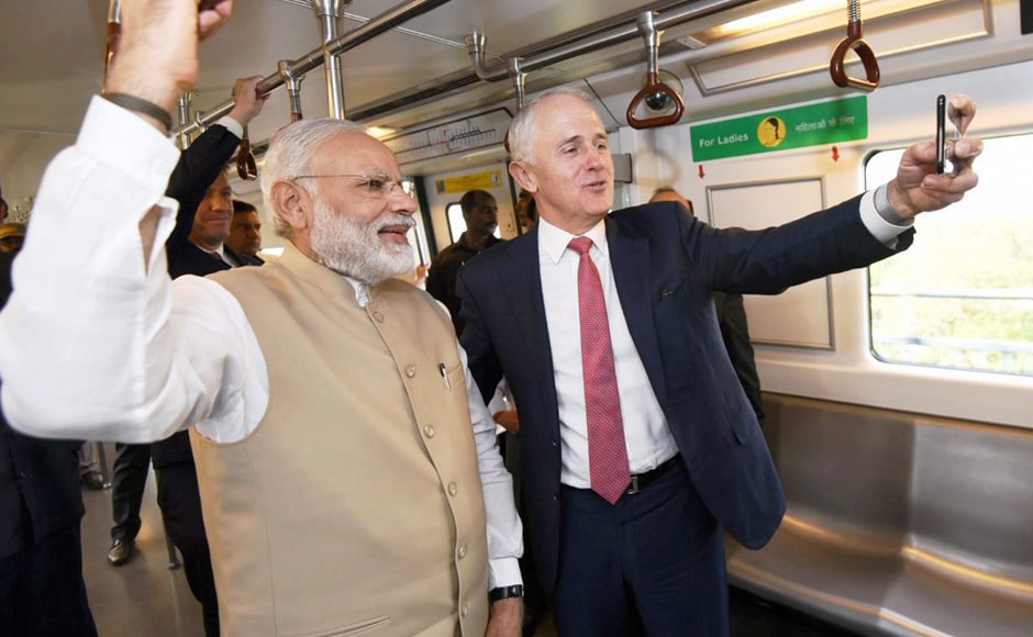 Australian Prime Minister Malcolm Turnbull arrived in New Delhi on Sunday on a four-day India visit during which he held talks with his Indian counterpart Narendra Modi on ways to boost ties in key areas including defence, security, energy and trade. PTI