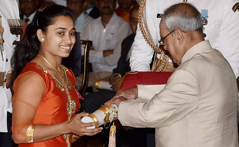 President Pranab Mukherjee confers Padma Shri on Gymnast Dipa Karmakar during Padma Awards 2017 function at Rashtrapati Bhavan in New Delhi on Thursday. PTI