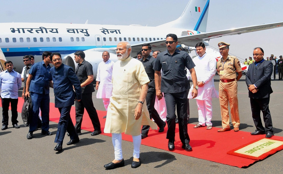 Prime Minister Narendra Modi with Governor of Maharashtra C Vidyasagar Rao who received him on his arrival in Nagpur on Friday. PTI