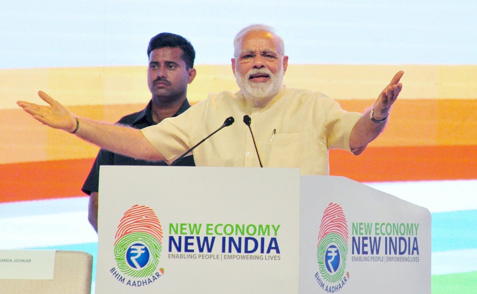 Modi addresses a NITI Aayog function in Nagpur on Friday. PTI
