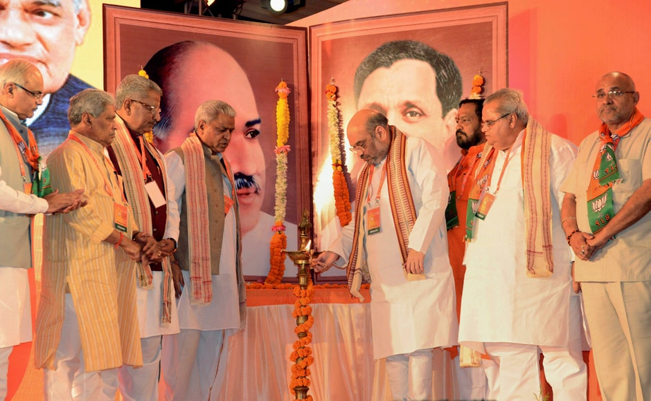 """BJP President Amit Shah inaugurates the BJP National Executive Meet in Bhubaneswar on Saturday. In his inaugural address at the BJP's two-day national executive, Shah asserted that the party's """"golden era"""" would arrive when it rules across the country, from panchayats to Parliament. PTI"""