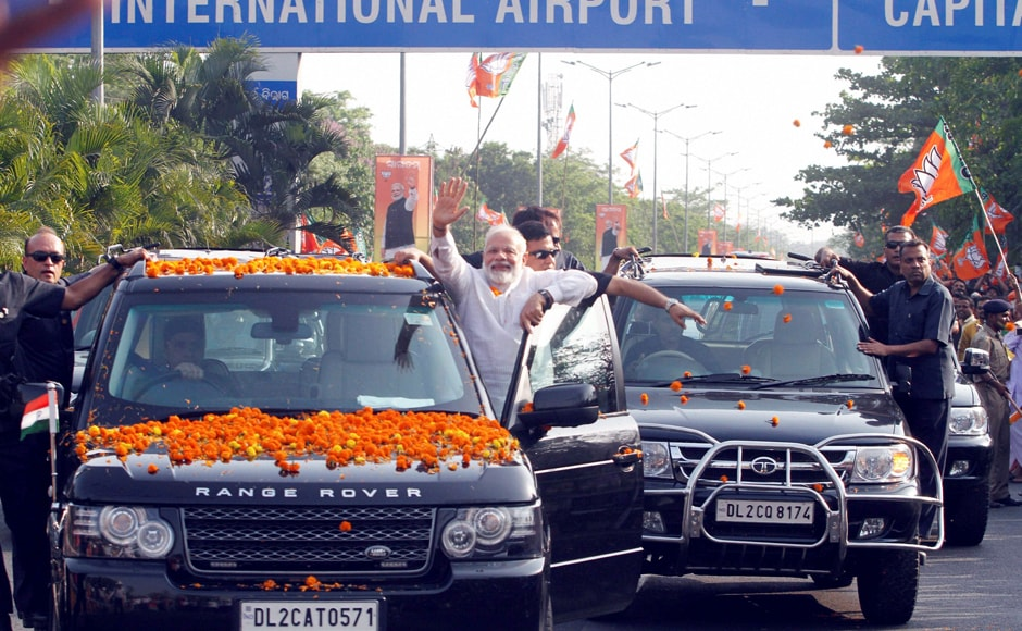 Prime Minister Narendra Modi on Saturday led a roadshow and mingled with crowds at several places breaking security protocol as he arrived Bhubaneswar to attend the two-day BJP National Executive Meeting with saffron expansion in Odisha being its key agenda. PTI