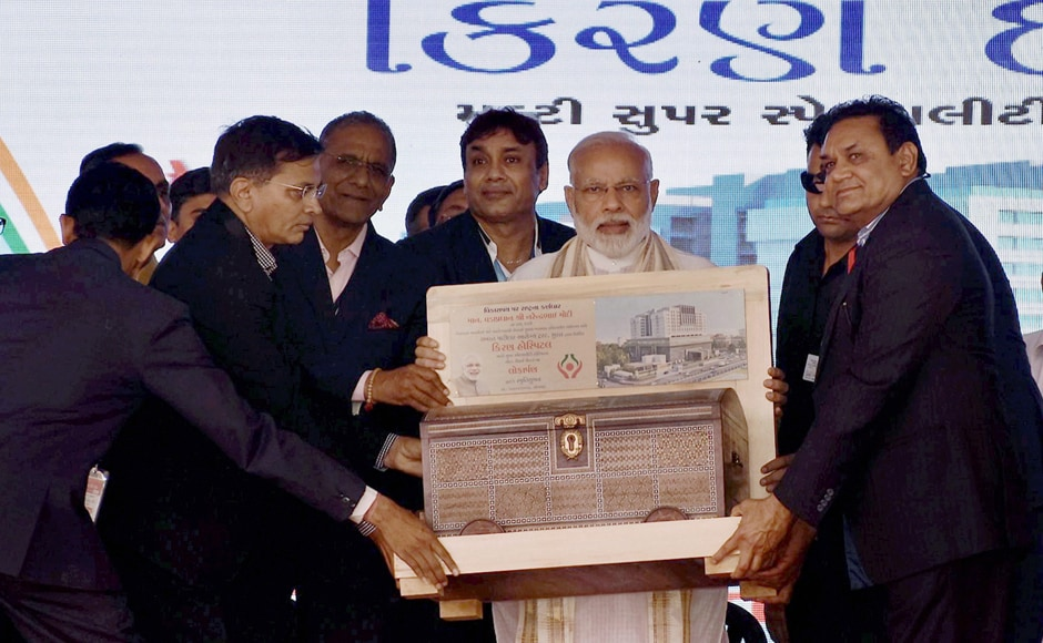 Prime Minister Narendra Modi during the Dedication ceremony of Kiran Multispeciality Hospital in Surat on Monday. PTI