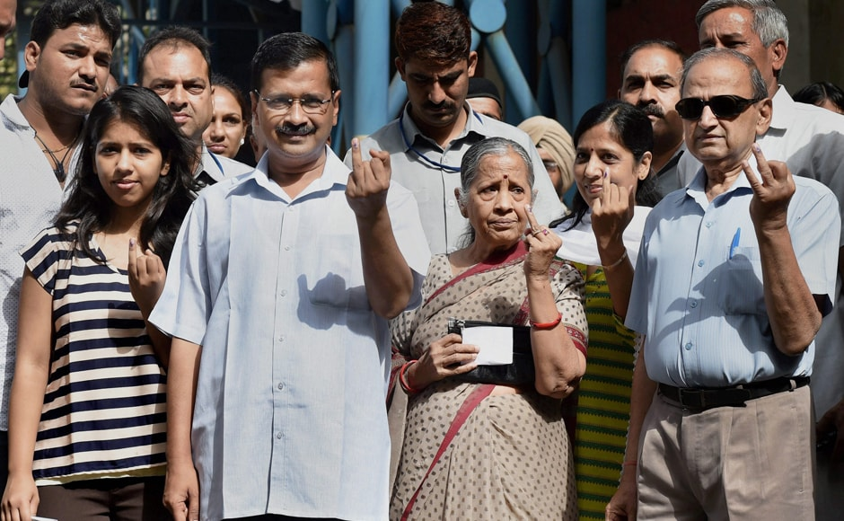 Delhi CM Arvind Kejriwal, accompanied by his parents, wife and daughter, reached a polling booth in North Delhi's Civil Lines to cast vote. Kejriwal's daughter, Harshita, voted for the first time. PTI