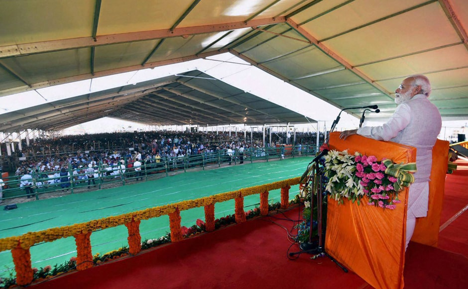 Narendra Modi addresses after inaugurating the Chenani-Nashri Tunnel. The tunnel is equipped with world-class security systems, and is expected to boost tourism and economic activities in the state of Jammu and Kashmir. PTI
