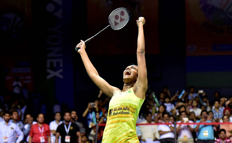 PV Sindhu lets out a triumphant cry after winning the match over her rival and avenging her Rio Olympics defeat to her. PTI