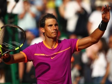 Rafael Nadal celebrates after his straight sets victory against David Goffin. Getty