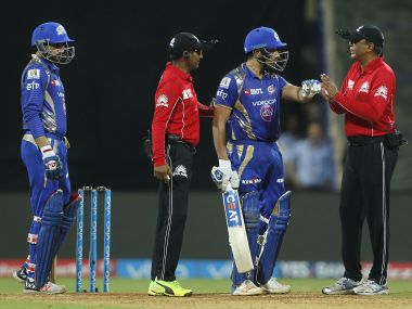 Mumbai Indians captain Rohit Sharma was upset at umpires' decision. IPL/SportzPics