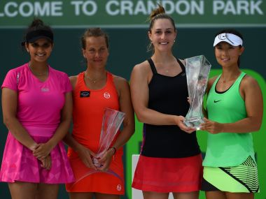 Sania Mirza (L) and Barbora Strycova (LC) were stunned by unseeded pair in the Miami Open final. GettyImages